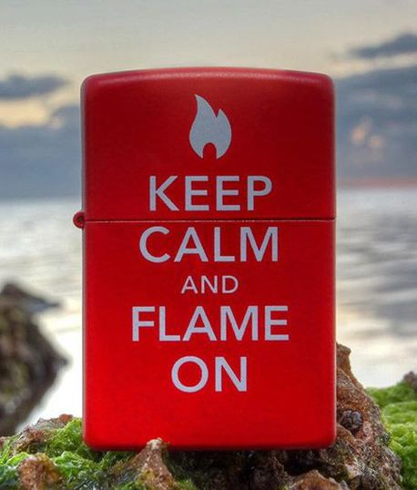 28671 - Zippo Keep Calm And Flame On, Red Matte